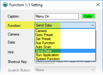 PTZ Controller - Custom Functions Setting