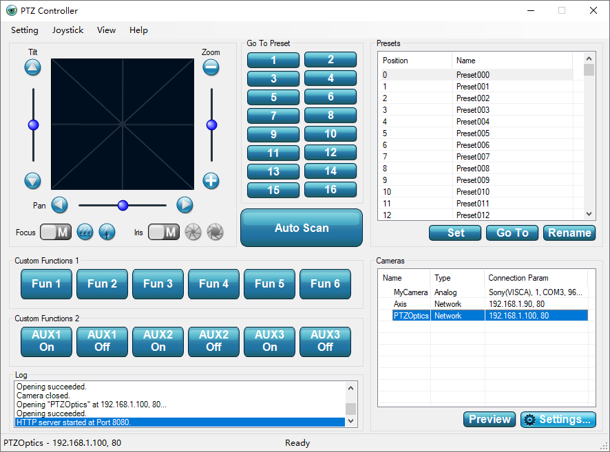 PTZ Camera joystick controller software.